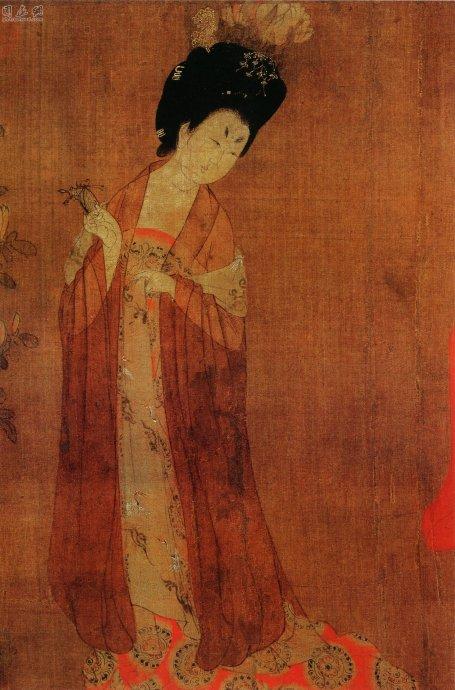 用 周昉 簪花仕女图 是全世界唯一的唐朝仕女画传世孤本图片