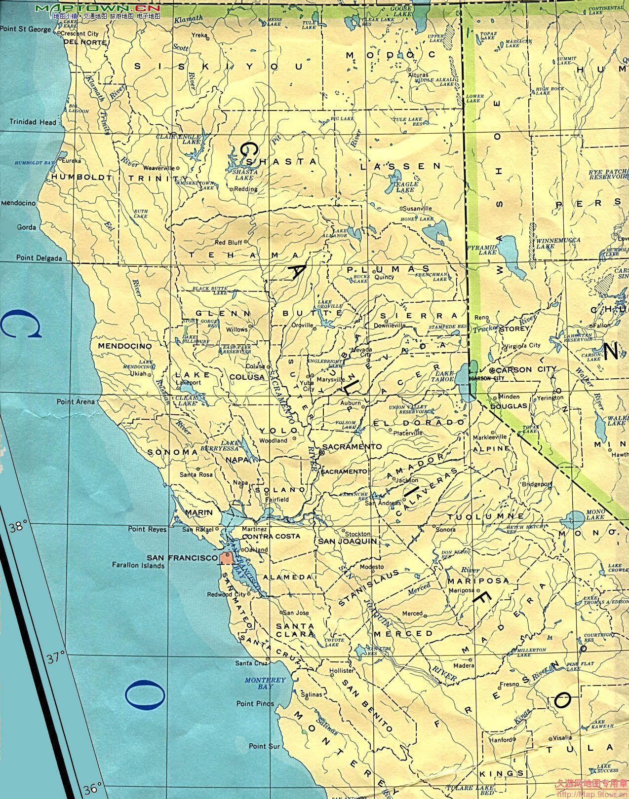 北美洲(North America): 美国加利福尼亚州(CA California)地图和经维度 - astrojina - AstroJina的星座世界