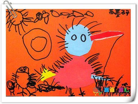 童画童心08秋季小小A班美术活动12——小小鸡捉虫子 - 童画-童心儿童美术 - 童画-童心儿童美术