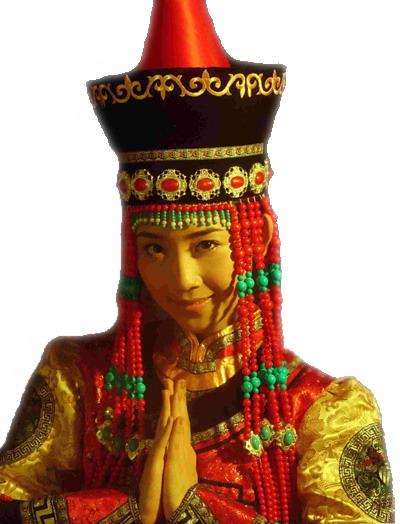 佩戴漂亮头饰的蒙古族美女