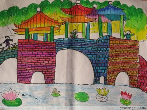 未来的桥儿童画;