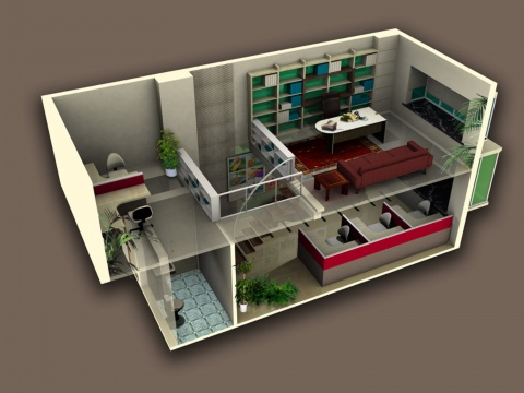装饰设计 - kevi   复式阁楼装修样板间,两室两厅的小复式楼阁高清图片