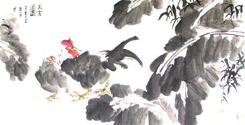 写意花鸟横幅4幅 - 墨海游龙 - 许跟虎国画艺术