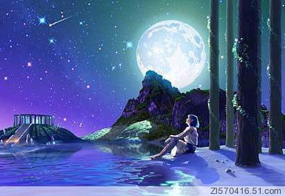 月亮在天上, 我在地上,  就