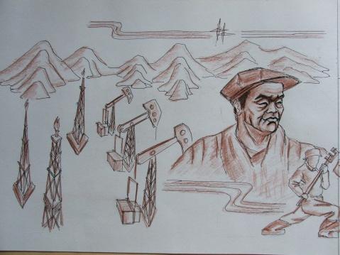 (原创)神华油库大门,壁画设计草图 - 2008zhouwenbo - 周文波博客