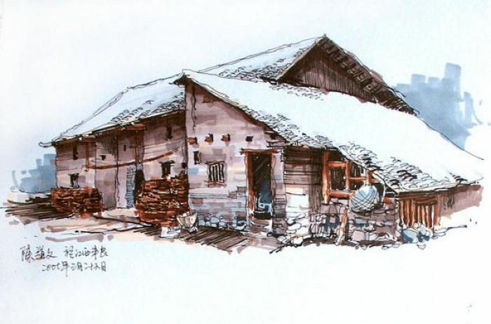 欧式小别墅设计马克笔效果图