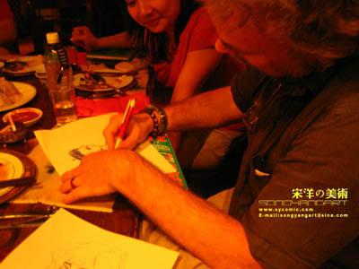 法国著名画家Vatine访华,为宋洋绘画法国BADGIRL! - waitany8 - 宋洋的漫画世界
