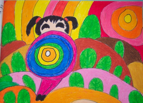 花伞儿童画