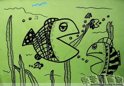 凤凰画室中级班16线描大嘴鱼