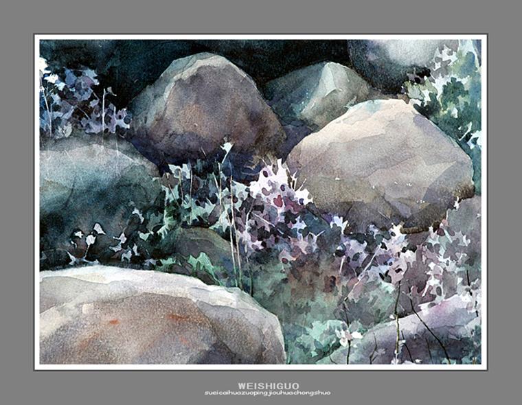 SHANGMO / SHITOUYUYEHUA 人们说,每到四五月间,阿坝的红原大草原是花的海洋。那叫不出名字的野花,有红的、黄的、粉蓝的、浅紫的 有四瓣的、五瓣的、单瓣的、复瓣的,色彩斑斓,形态各异,美不胜收。但是,两次路过红原都错过了季节,这成了我心中的一件憾事。 大约三年前,应邀随班写生,住在一个叫上茂的小镇。在从驻地到写生点的路上,偶然发现路边的石头间缝里长出几朵粉紫色的野花。我想,深秋时节能看到如此美丽的花,甚是难得。此后,虽然写生点在不断变换,绕道我也要去看看。一晃,两周写生时间就要结