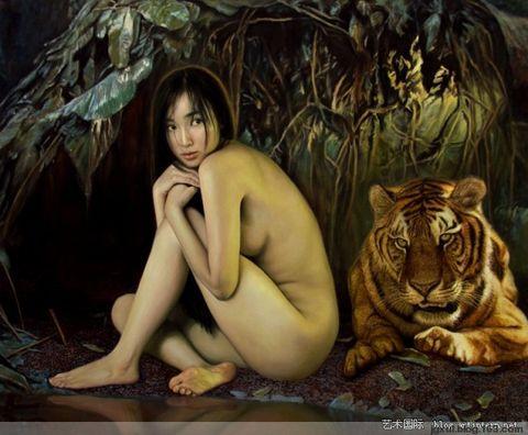 李壮平东方神女山鬼系列之巫山神女人体油画 - 白大侠 - 白大侠的博客