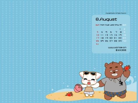 麦咪和熊熊8月+七夕桌面 - Yalloe麦咪和熊熊 - 麦咪和熊熊.Yalloe