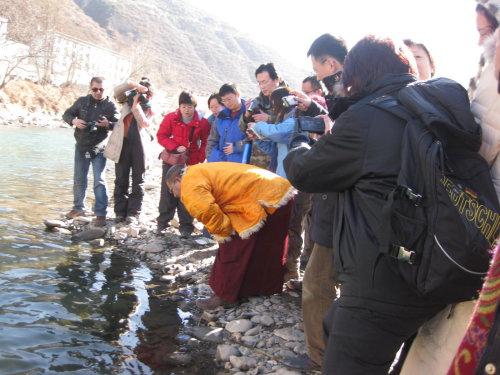 放生的大鱼在水中长时间对着上师顶礼感恩