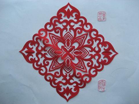 我的原创云纹四角团花剪纸