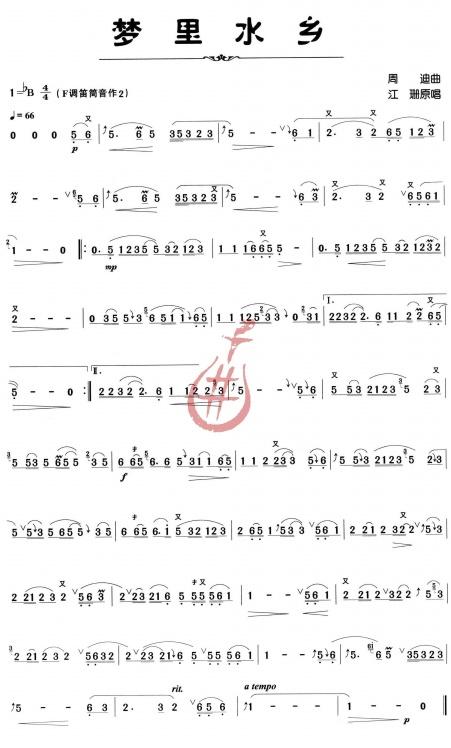 筒音5笛子简谱歌谱大全