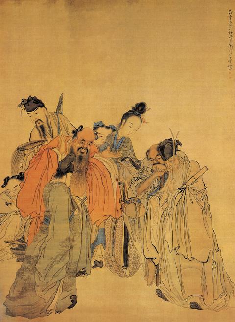 扬州八怪:黄慎画选 醉眠图(百幅中国名画) - 潮河边人 - 潮河边人博客