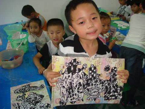 黑白线描创意装饰画 少儿黑白线描装饰画 黑白线描创意装
