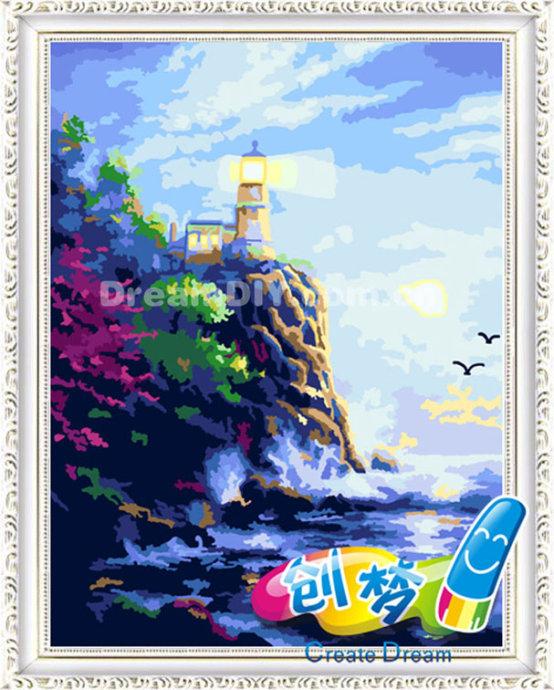 创梦数字油画★海风(40X50)★DIY数字油画彩绘