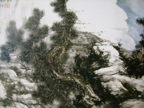 山水画石头画法雨点皴-用 罗昌老师 中国山水画技法讲座 第四讲图片
