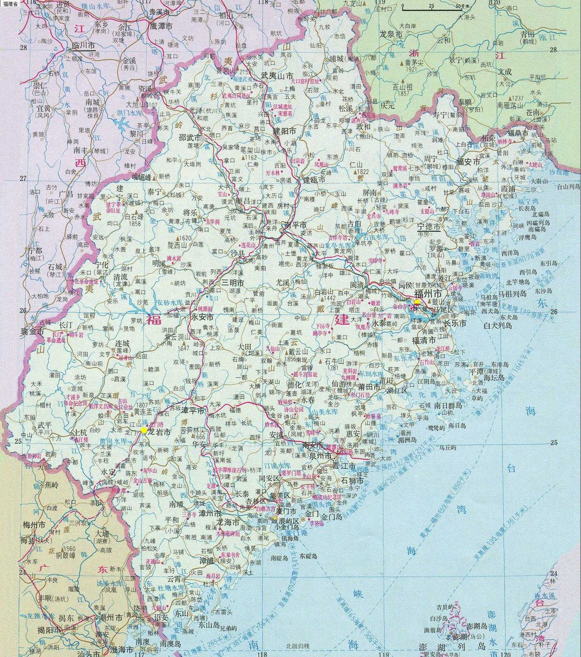 福建省地图和经维度