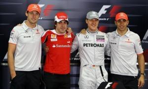 今年有F1四位冠军参赛 巴顿 阿隆索 舒马赫 汉密尔顿