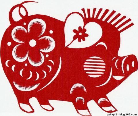 动物剪纸教程猪