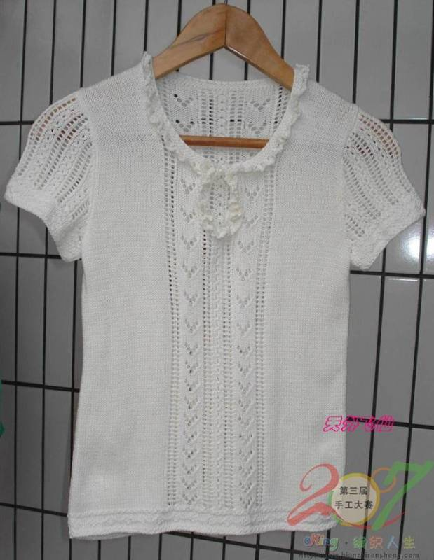 米白色缕空短袖衣衣-夏装 - 人走茶凉 - 人走茶凉 的博客