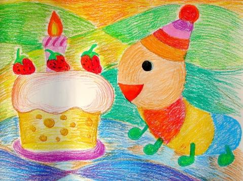 油画棒第四课《小虫吃蛋糕》图片