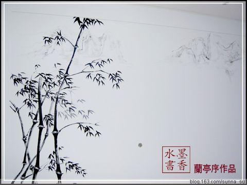 重庆手绘墙-蓝系谷地水墨书香电视墙手绘图片