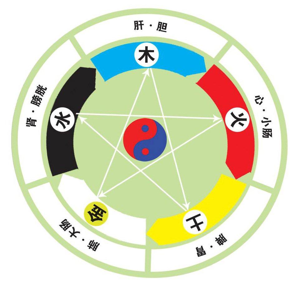中医阴阳与五色,五味,五脏,五官,五行关系