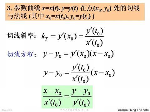 平面曲线的切线与法线方程 - calculus - 高等数学
