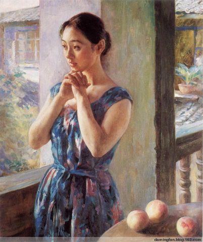 """""""黛绿年华"""":管建新油画中的江南青年女性 - 范达明 - 范达明的博客"""