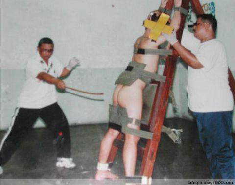 新加坡的鞭刑现场 图
