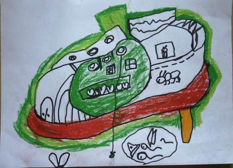 蚂蚁的鞋子城堡 幼儿想像画