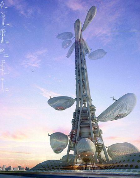 八大未来之城设计:金字塔城市漂浮日本东京湾(组图)