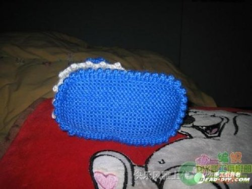 蓝色高邦宝宝鞋详细编织法 - 小芊芊 - 小芊芊