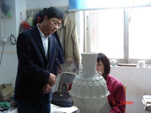 """参观宜兴青瓷厂并题""""碧玉青瓷"""" - 张公者 - 张公者"""