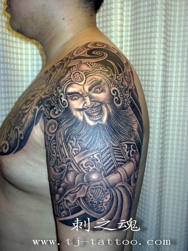 今天的纹身作品_武财神