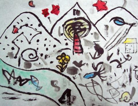 米罗大师抽象画作品-国画班的试听课 体验水墨 蒋畅老师