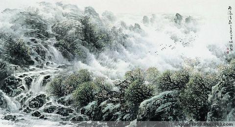 廖焯勋的山水画作品(12幅)   092 - 勇敢的人 - 中国国际美术品交流与收藏