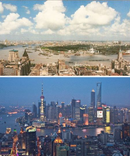 中国上海——1990年和2010年