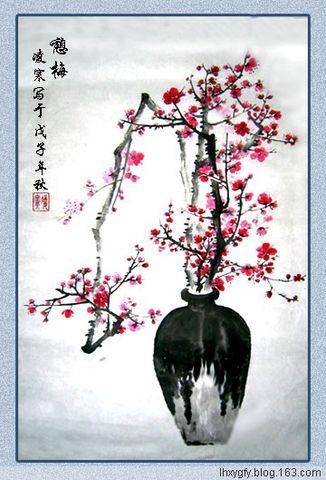 (诗画原创)七绝  自题《憩梅图》 - 凌寒 - 梅影清溪