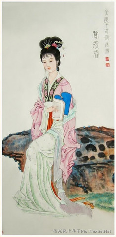 金陵十二釵美图 - 自在飞花轻似梦,无边丝雨细如愁 - 余廷林诗词
