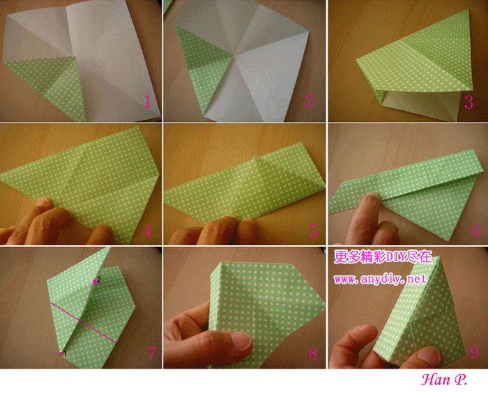 第一种盒子 首先折1-4。 5:顺着黑色线条折,只折黑线部分。 6、7:顺着黑色线条折的话会出现一个《柱子》。 8:把《柱子》往右边拉下来就完成一部分了,利用相同的方法制作4个部分吧。 9:连接的过程,按照图示来连接一下。