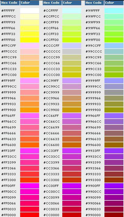 16进制颜色代码对照表