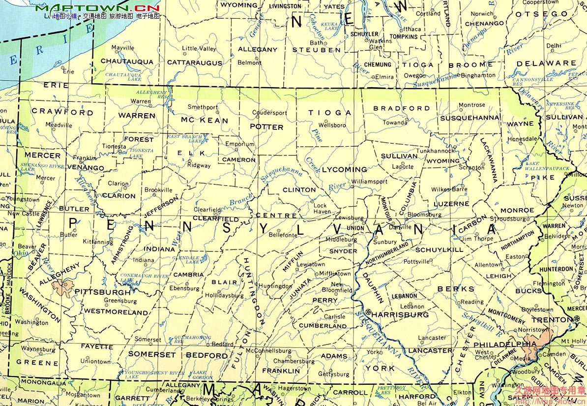 北美洲(North America): 美国宾夕法尼亚州(PA Pennsylvania)地图和经维度 - astrojina - AstroJina的星座世界