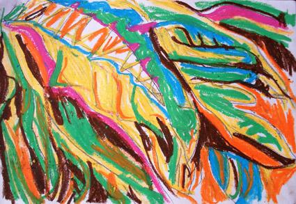 浙西廿八都--油画棒小品 - 小学五年级 - 会笑的蜻蜓