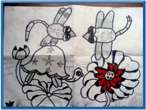 1.河边蜻蜓(素描画):蜻蜓和小乌龟在一起聊天玩耍!