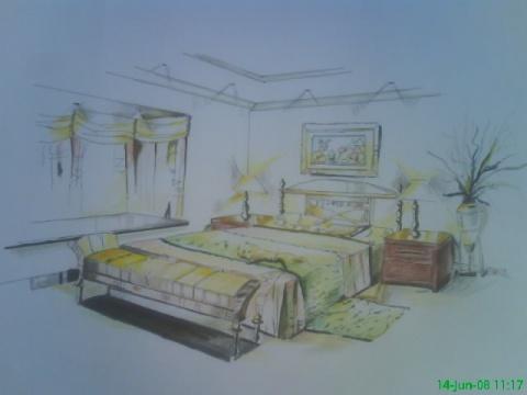 欧式沙发设计彩铅图