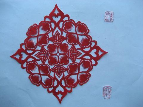 八折团花剪纸图样步骤